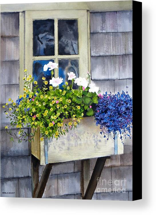 Window Canvas Print featuring the painting 'sconset Window Box by Karol Wyckoff