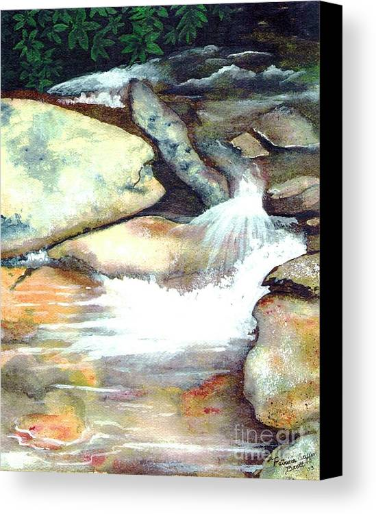 Fine Art Canvas Print featuring the painting Smoky Mountains Waterfall by Patricia Griffin Brett