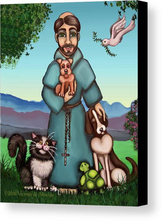 St. Francis Canvas Print featuring the painting St. Francis Libertys Blessing by Victoria De Almeida