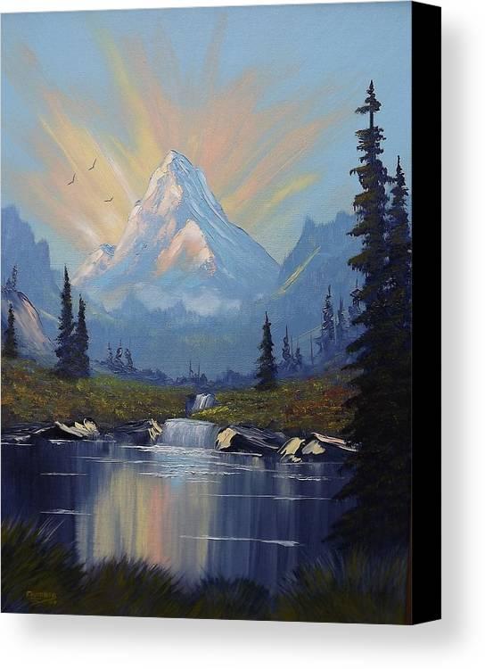 Mountain Canvas Print featuring the painting Sunburst Landscape by Richard Faulkner