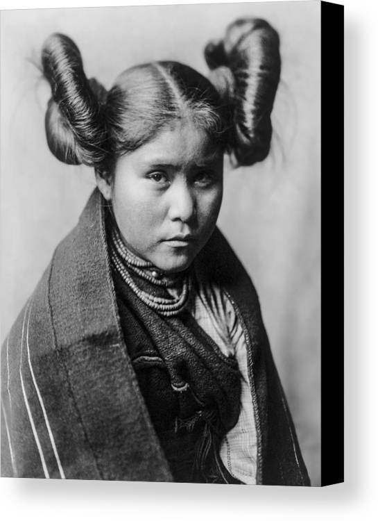 1907 Canvas Print featuring the photograph Tewa Girl by Aged Pixel