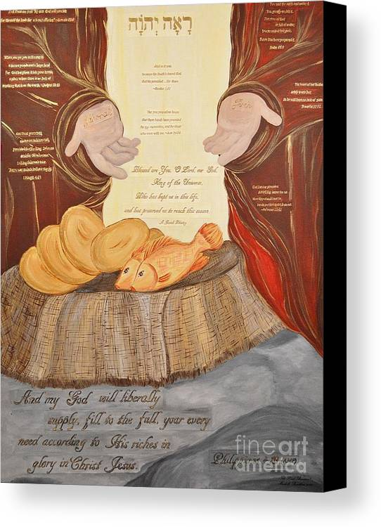 Philippians-4:19 Canvas Print featuring the painting The Lord's Provision by Michelle Bentham