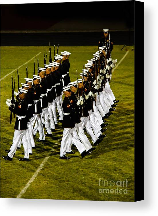 Tunited States Canvas Print featuring the photograph The United States Marine Corps Silent Drill Platoon by Robert Bales