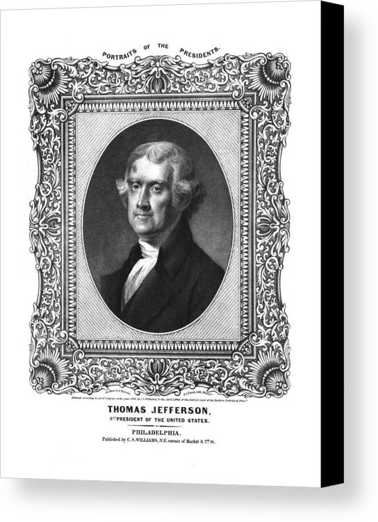 United States Canvas Print featuring the drawing Thomas Jefferson by Aged Pixel