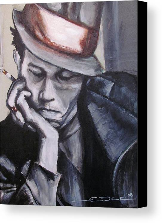 Celebrity Portraits Canvas Print featuring the painting Tom Waits One by Eric Dee