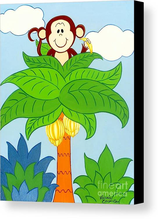 Monkey Canvas Print featuring the painting Tree Top Monkey by Valerie Carpenter