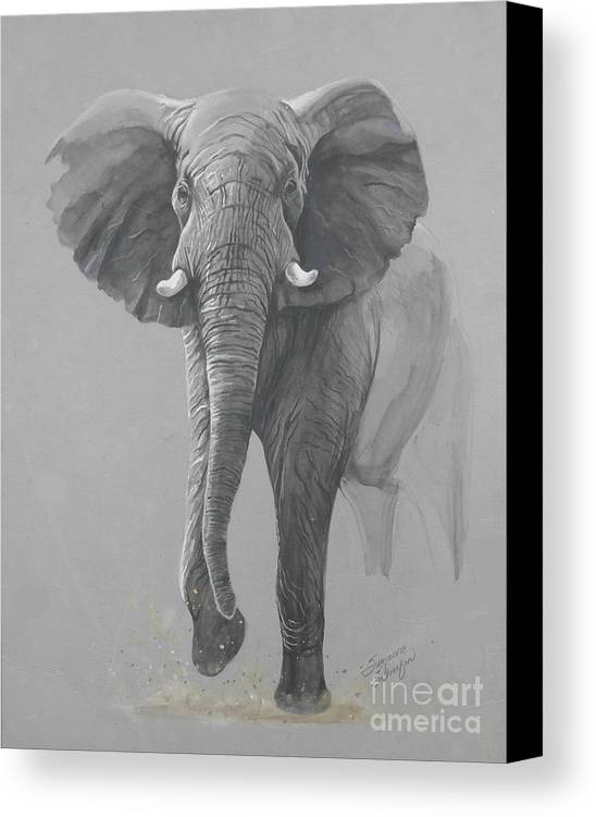 Elephant Canvas Print featuring the painting Vanishing Thunder by Suzanne Schaefer