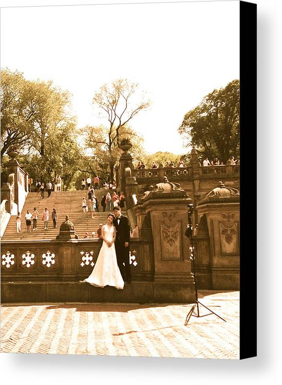 Central Park Canvas Print featuring the photograph Wedding In Central Park by Christy Gendalia