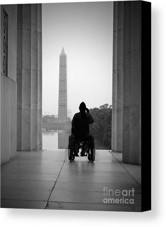 Vet Canvas Print featuring the photograph Wheelchair Vet Salute by Jost Houk