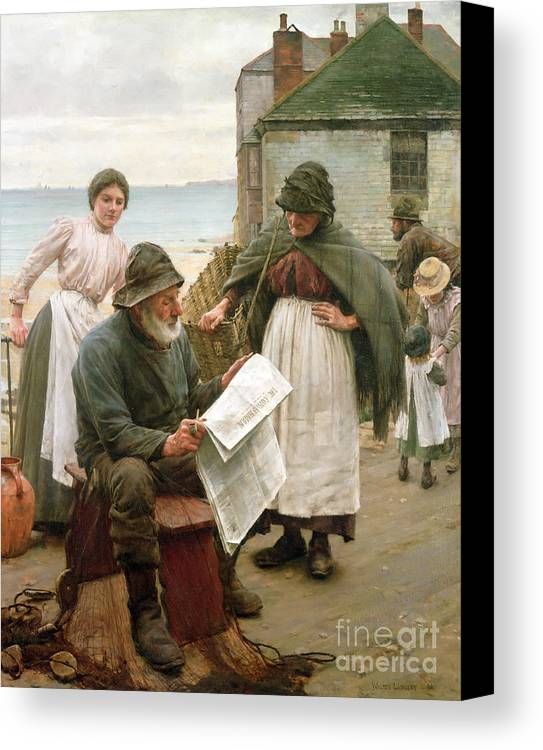 Sea Dog Canvas Print featuring the painting When The Boats Are Away by Walter Langley