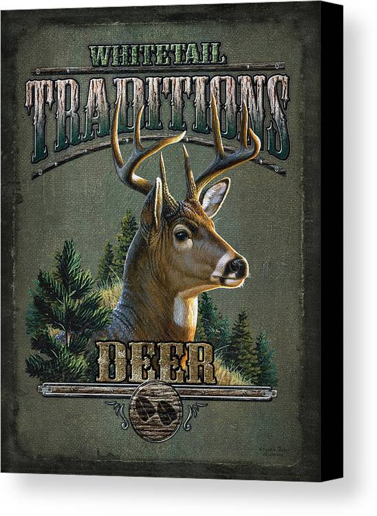 Cynthie Fisher Canvas Print featuring the painting Whitetail Deer Traditions by JQ Licensing