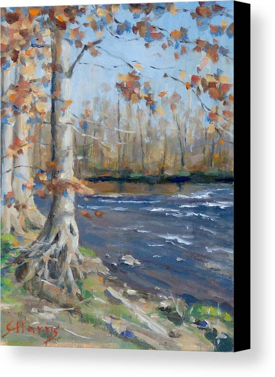 Edwin Warner Parks Canvas Print featuring the painting Winter On The Little Harpeth by Sandra Harris