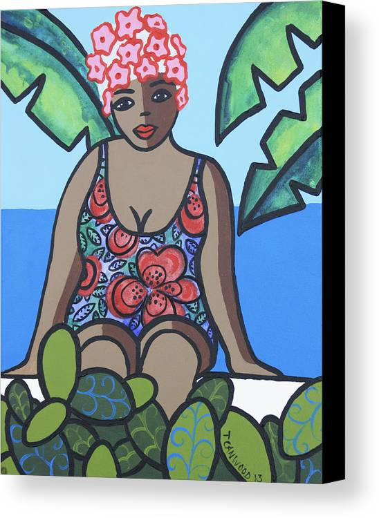 Woman Canvas Print featuring the painting Woman In Bathing Suit 4 by Trudie Canwood