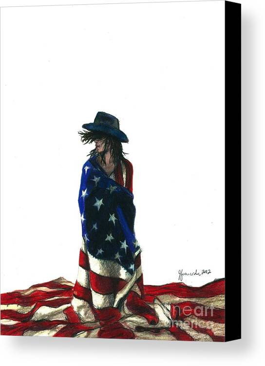 Patriotic Canvas Print featuring the drawing You Find Freedom Inside by J Ferwerda