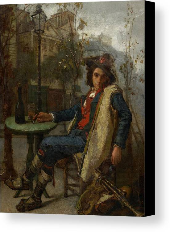 Young Italian Street Musician Canvas Print featuring the painting Young Italian Street Musician by Thomas Couture