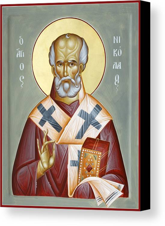 St Nicholas Of Myra Canvas Print featuring the painting St Nicholas Of Myra by Julia Bridget Hayes