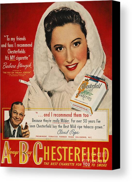1949 Canvas Print featuring the photograph Chesterfield Cigarette Ad by Granger