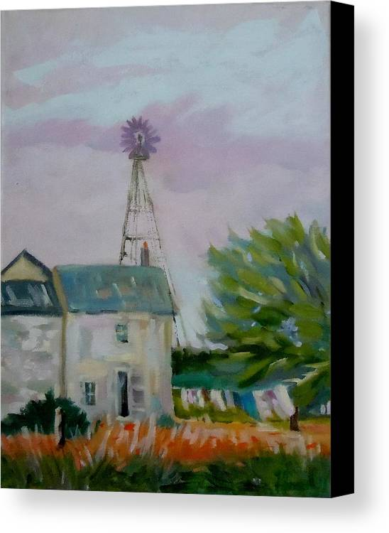 Landscape Canvas Print featuring the painting Amish Farmhouse by Francine Frank