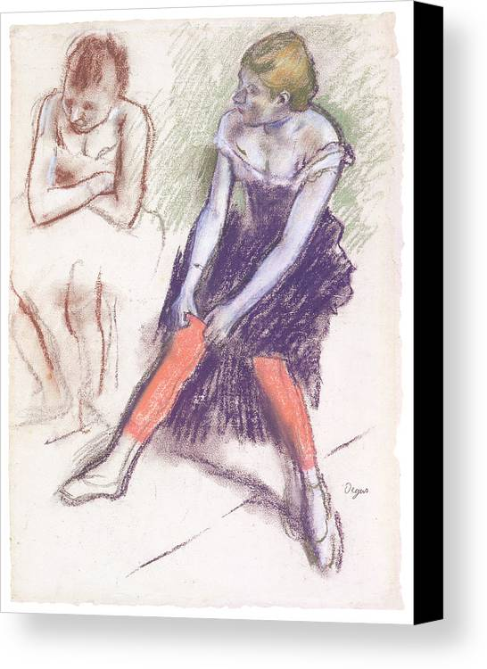 Dancer With Red Stockings Canvas Print featuring the pastel Dancer With Red Stockings by Edgar Degas