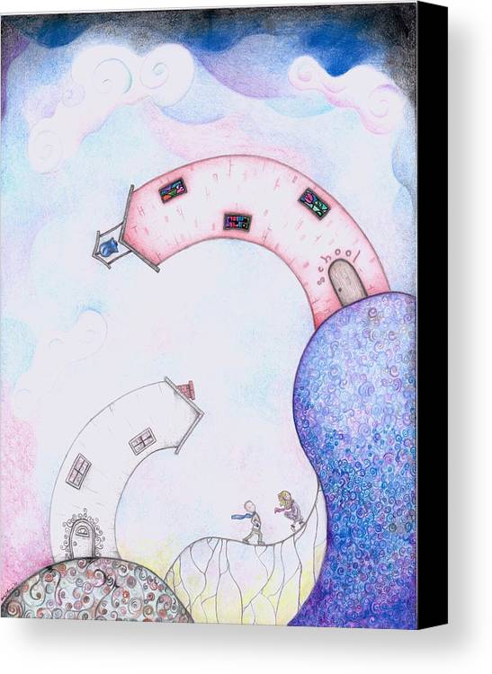Megan Stone Canvas Print featuring the drawing Going To School by Megan Stone