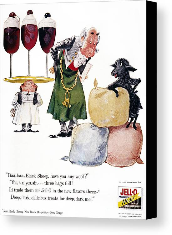 1957 Canvas Print featuring the photograph Jell-o Advertisement, 1957 by Granger