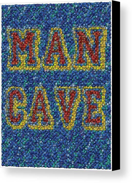 Man Cave Canvas Print featuring the mixed media Man Cave Bottle Cap Mosaic by Paul Van Scott