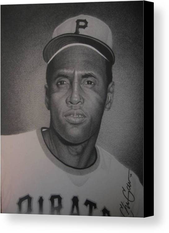 Portrait Canvas Print featuring the drawing Roberto Clemente by Christian Garcia