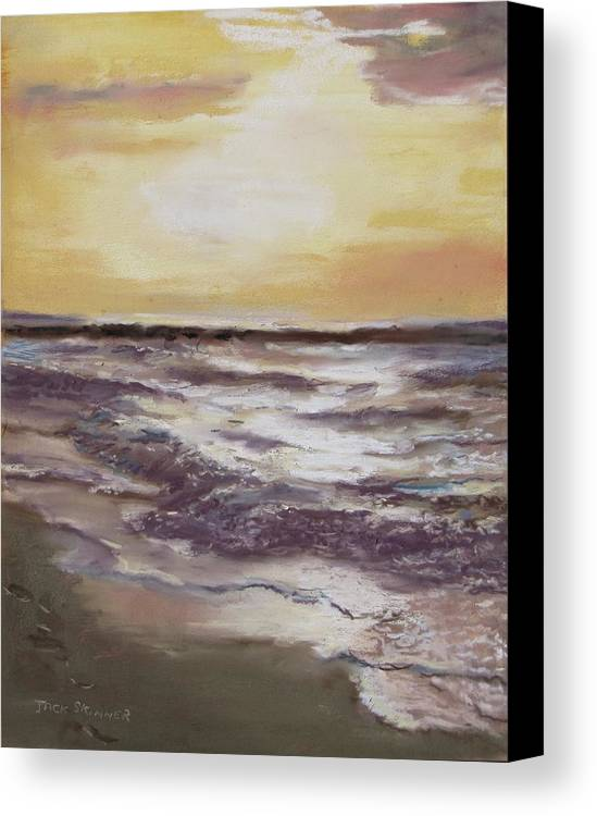 Sunset Canvas Print featuring the painting Sesuit Sunset by Jack Skinner