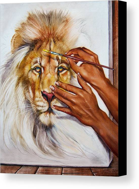 Lion Canvas Print featuring the painting She Paints Him by Martin Katon