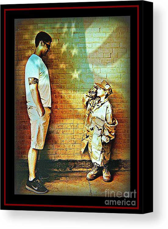 America Canvas Print featuring the photograph Spirit Of Freedom - Soldier And Son by Leslie Revels