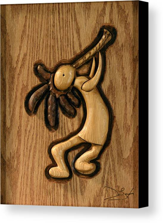 Kokopelli Canvas Print featuring the relief Spring Jam A by David Taylor