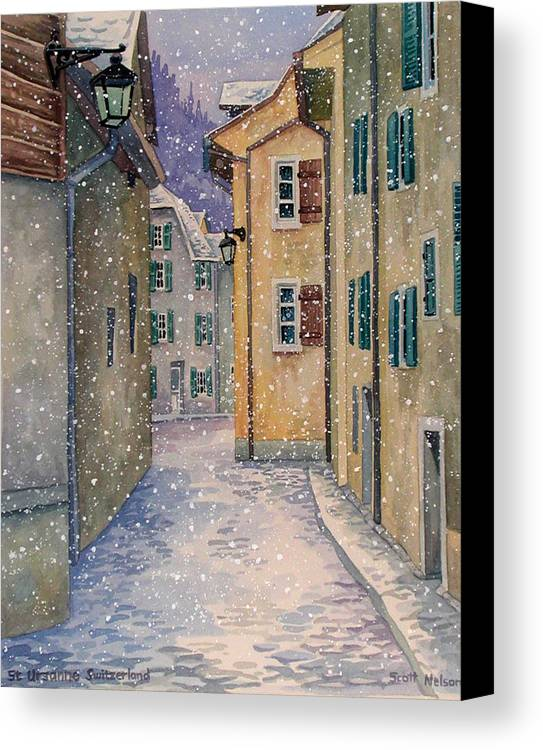 Switzerland Canvas Print featuring the painting St Ursanne In Snow by Scott Nelson