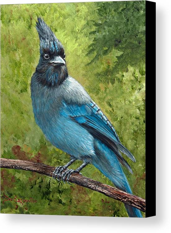 Stellar Jay Canvas Print featuring the painting Stellar Jay by Dee Carpenter