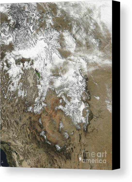 Mountainous Canvas Print featuring the photograph The High Peaks Of The Rocky Mountains by Stocktrek Images