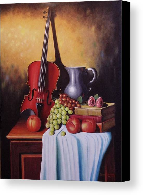 Still Life Canvas Print featuring the painting The Red Violin by Gene Gregory