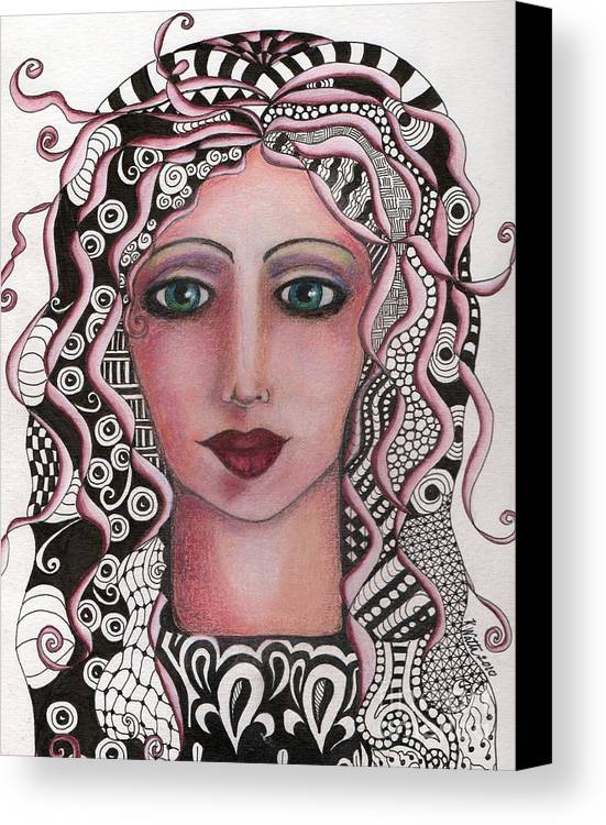Canvas Print featuring the mixed media The Tangled Woman by Kristen Watts