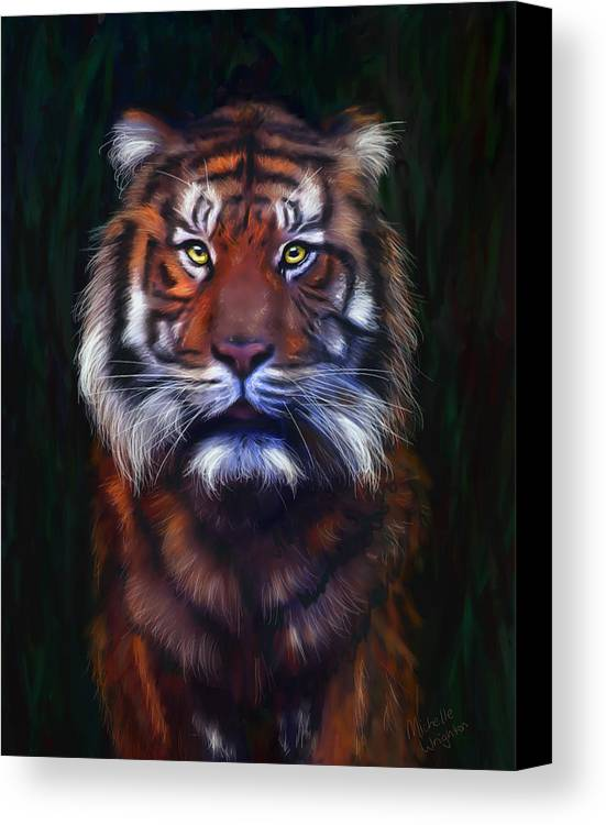 Tigers Canvas Print featuring the painting Tiger Tiger by Michelle Wrighton