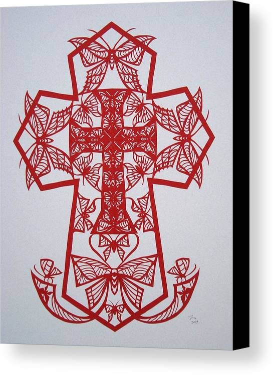 Beliefs Canvas Print featuring the mixed media 003 Butterfly-cross by Tong Steinle
