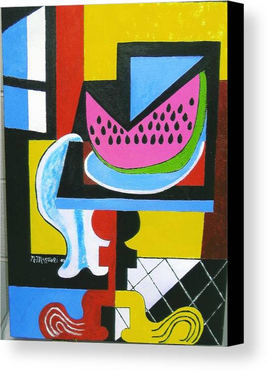 Abstract Canvas Print featuring the painting Abstract Watermelon by Nicholas Martori