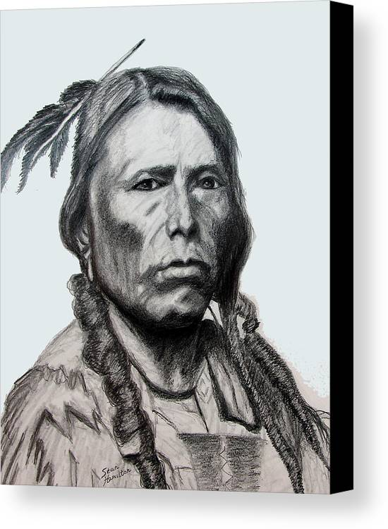 Indian Portrait Canvas Print featuring the drawing Crazy Horse by Stan Hamilton
