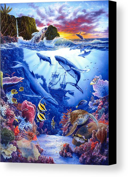 Dolphin Canvas Print featuring the painting Enchanted Sea by Daniel Bergren