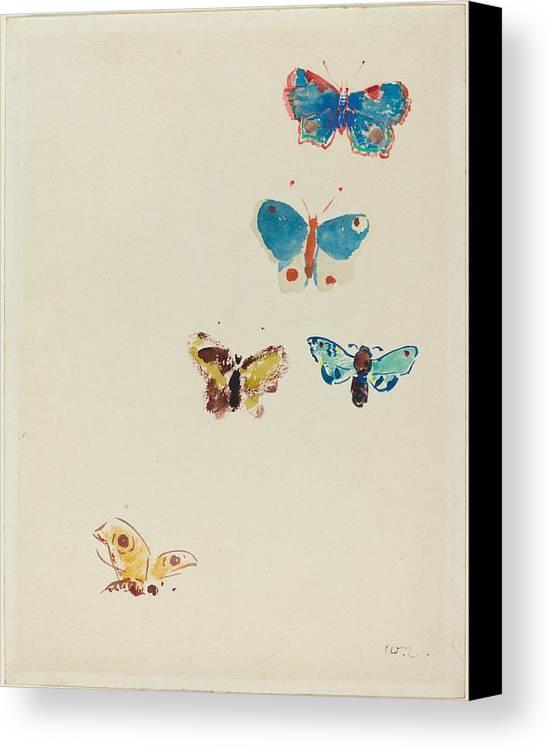 Five Butterflies Canvas Print / Canvas Art by Odilon Redon