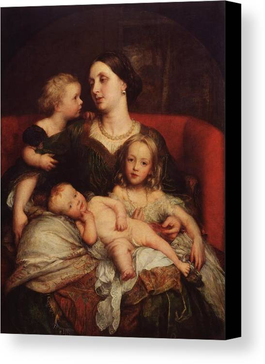 George Frederic Watts 1817�1904  Mrs George Augustus Frederick Cavendish-bentinck And Her Children Canvas Print featuring the painting George Augustus Frederick Cavendish by George Frederic