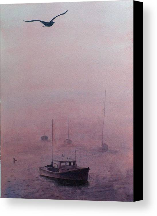 Seascape Canvas Print featuring the painting Harbor Fog by Sylvia Stone