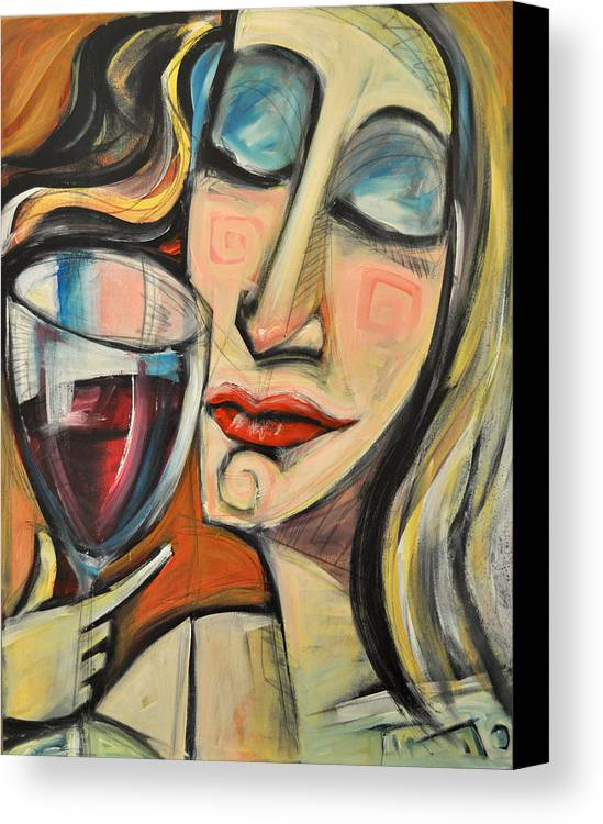 Wine Canvas Print featuring the painting Savoring The First Sip by Tim Nyberg