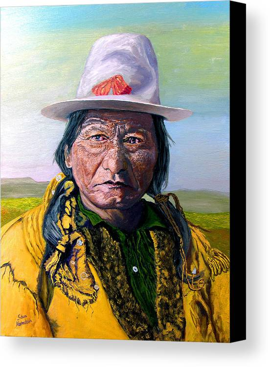 Original Oil On Canvas Canvas Print featuring the painting Sitting Bull by Stan Hamilton
