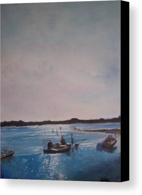Sunset Canvas Print featuring the painting Twilight Tide by Karen Thompson