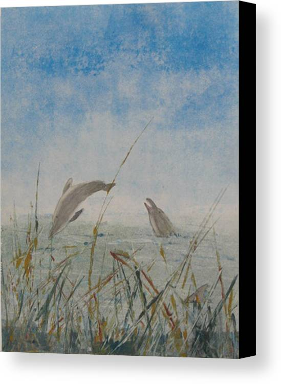 Dolphin Canvas Print featuring the painting Dolphin Frolic by Libby Cagle