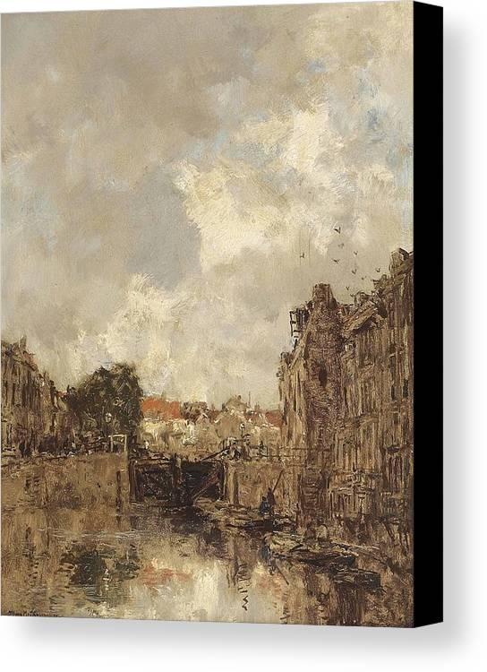 Johan Hendrik Van Mastenbroek (1875-1945) Sluisje Canvas Print featuring the painting Sluisje by Johan Hendrik