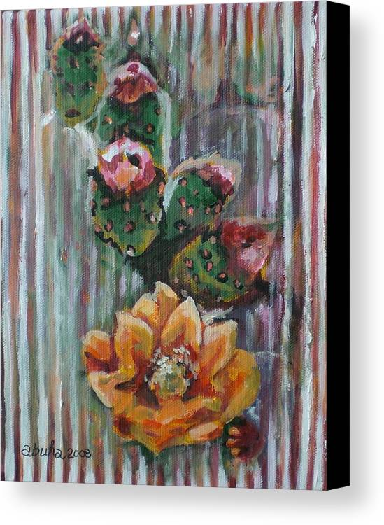Cactus Canvas Print featuring the painting Yellow Cactus Blossom by Aleksandra Buha